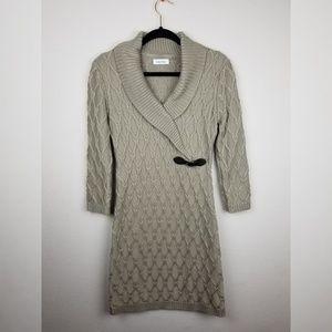 Calvin Klein Faux Wrap Sweater Cable Knit Dress M